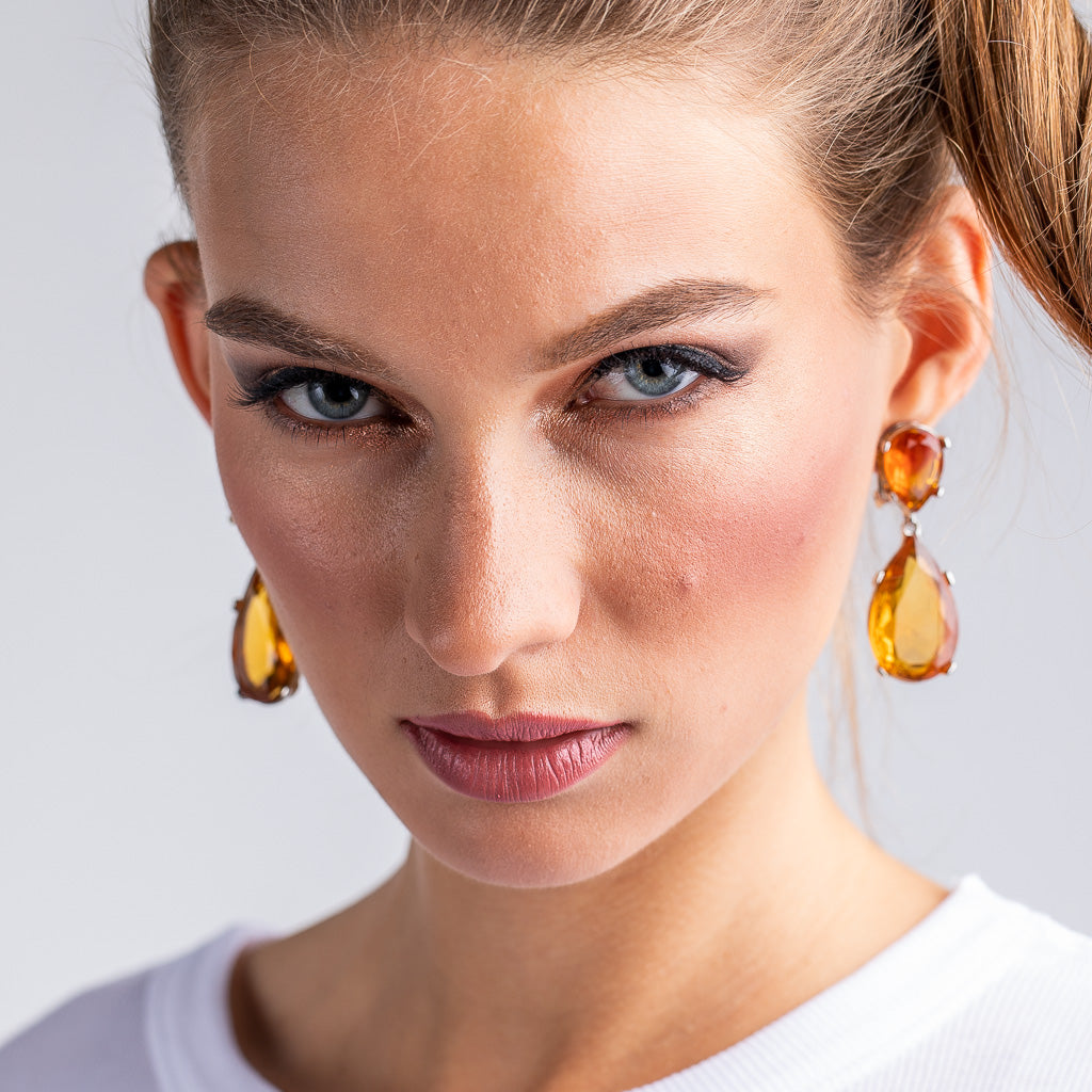 Topaz and Silver Teardrop Pierced or Clip Earrings