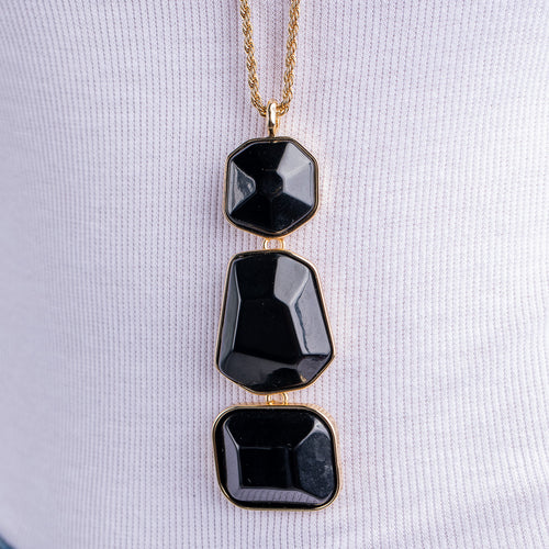 Black Multi Shape Pendant Necklace