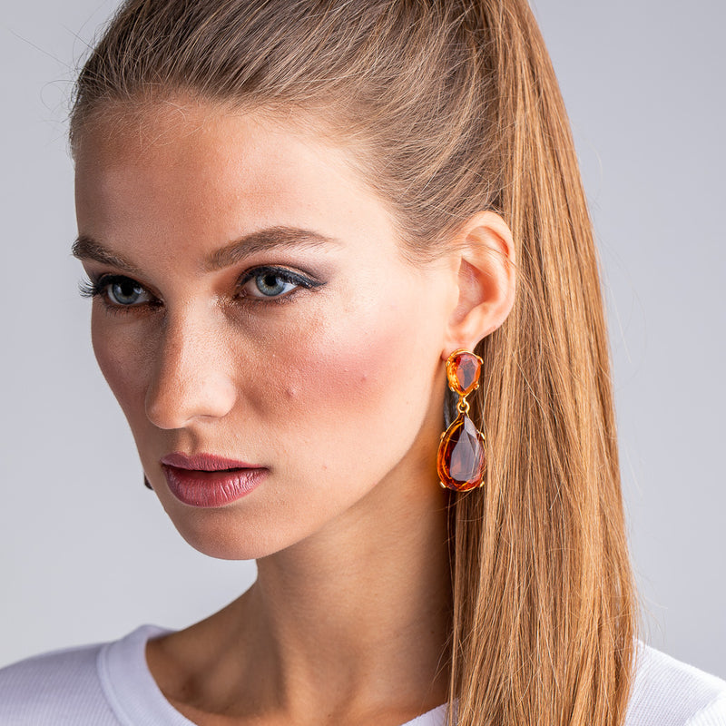 Topaz and Gold Teardrop Pierced or Clip Earrings