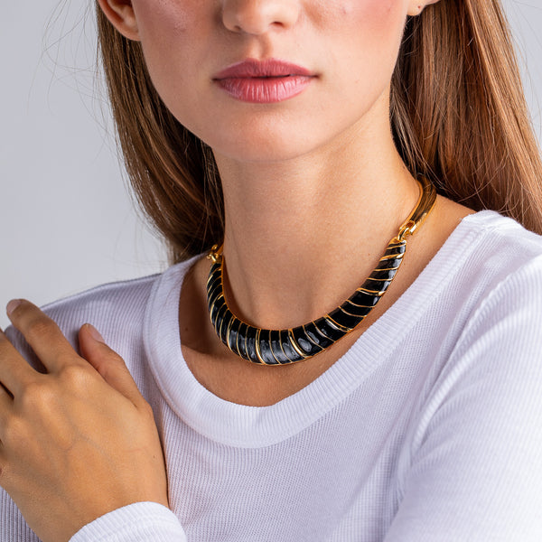 Black Enamel Bib Necklace