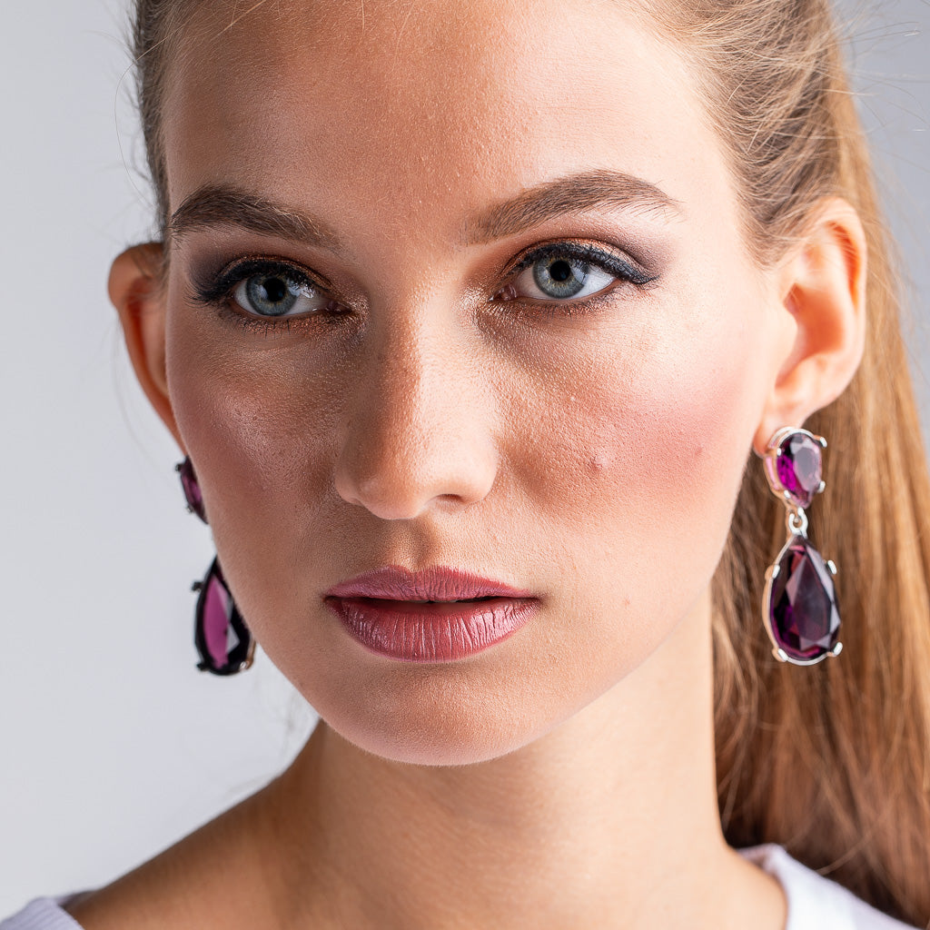 Amethyst and Silver Teardrop Pierced or Clip Earrings