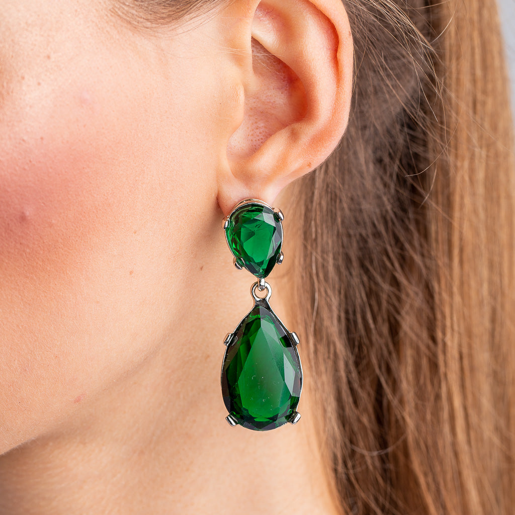 Emerald and Silver Teardrop Pierced or Clip Earrings