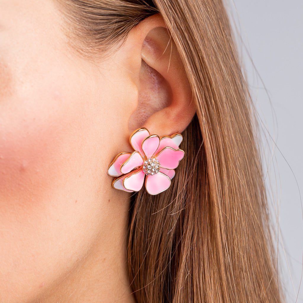Gold and Pink Flower Pierced Earrings