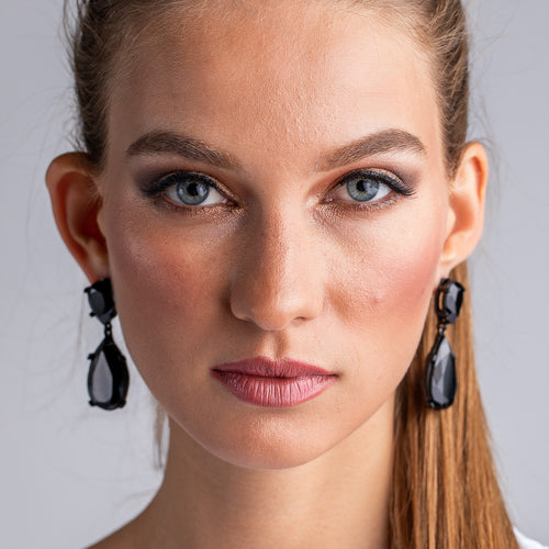 Jet and Black Plated Teardrop Pierced Earrings