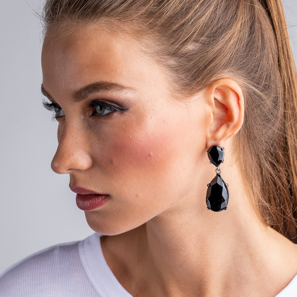 Jet and Silver Teardrop Pierced or Clip Earrings