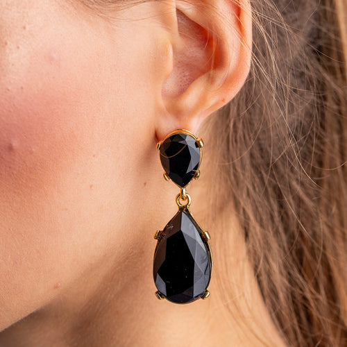 Jet and Gold Teardrop Pierced or Clip Earrings