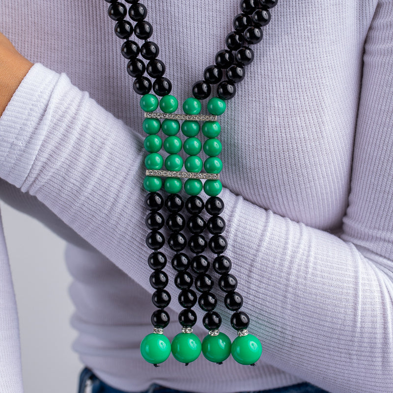 Black and Jade Beaded Art Deco Necklace