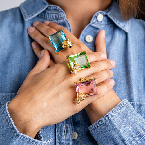 KJL X BRANDON MAXWELL - AQUA AND LADYBUG RING