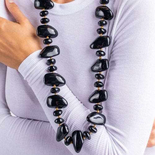 Black Pebble Necklace