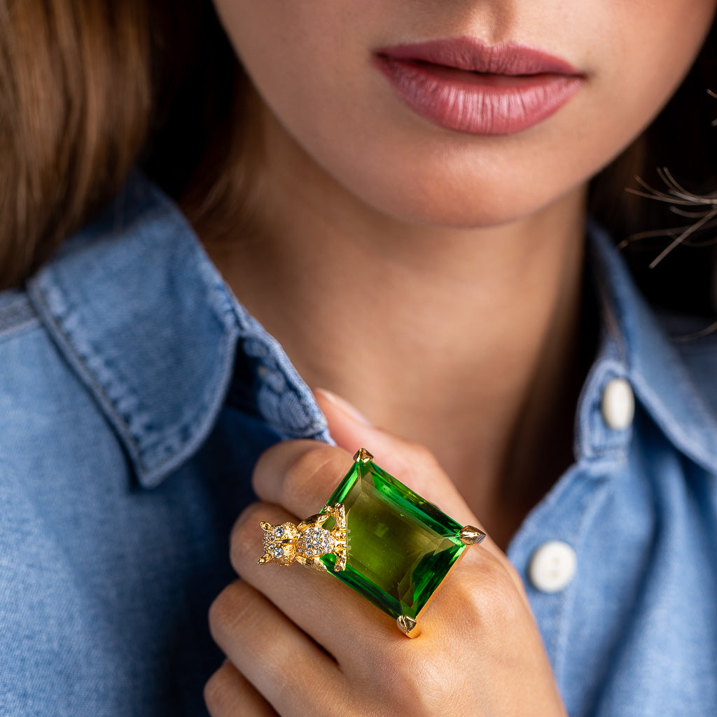 KJL X BRANDON MAXWELL - PERIDOT AND OWL RING