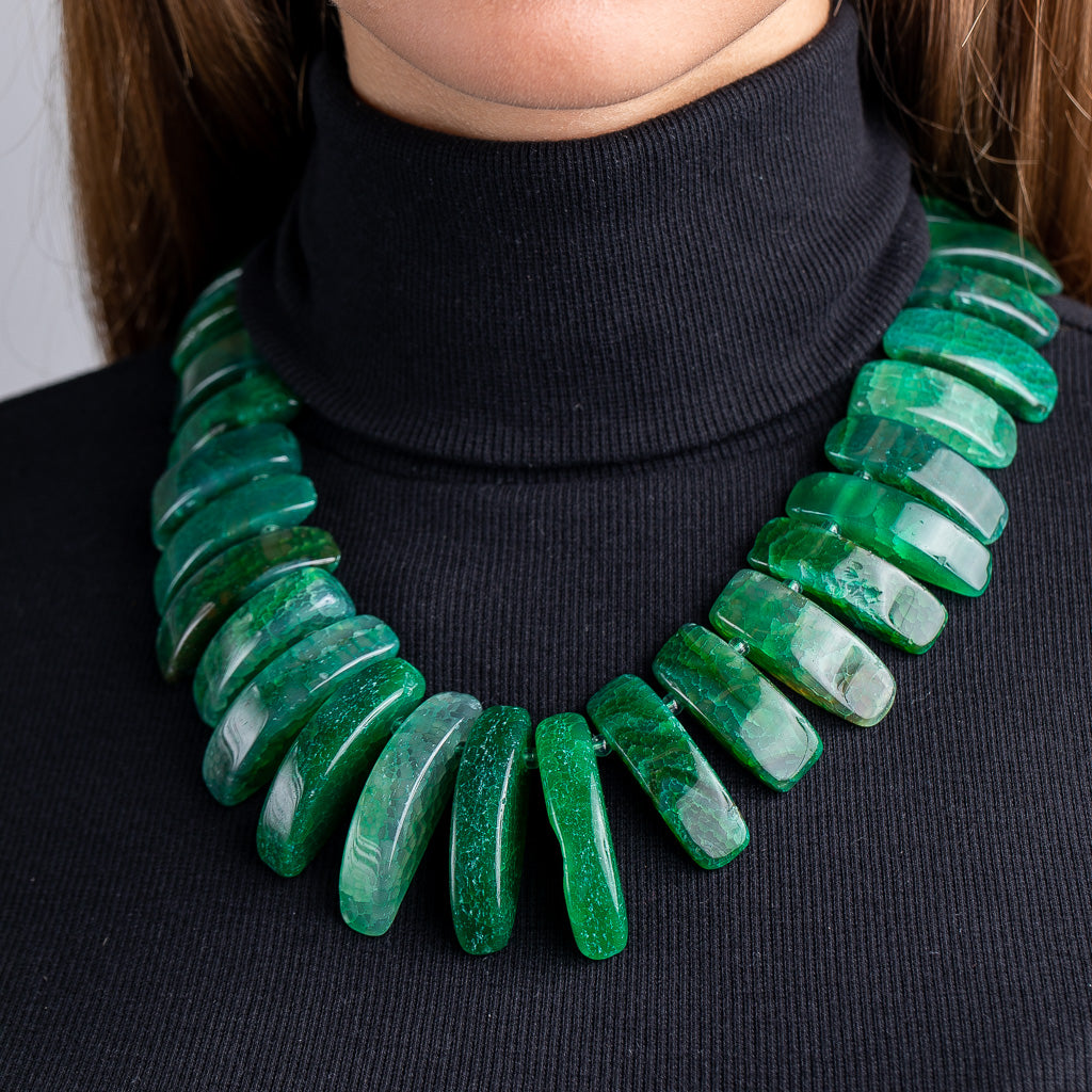 Green Agate Bar Bib Necklace