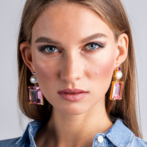 KJL X BRANDON MAXWELL - PEARL AND PINK PIERCED EARRINGS
