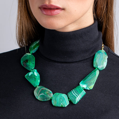 Apple Green Stone Station Necklace