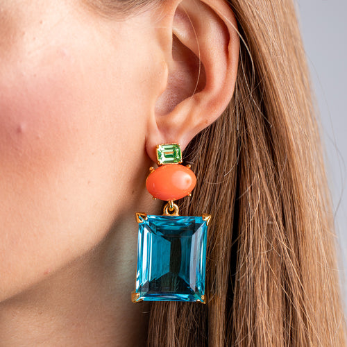 KJL X BRANDON MAXWELL - CORAL AND AQUA PIERCED EARRINGS