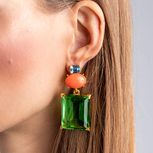 KJL X BRANDON MAXWELL - CORAL AND PERIDOT PIERCED EARRINGS