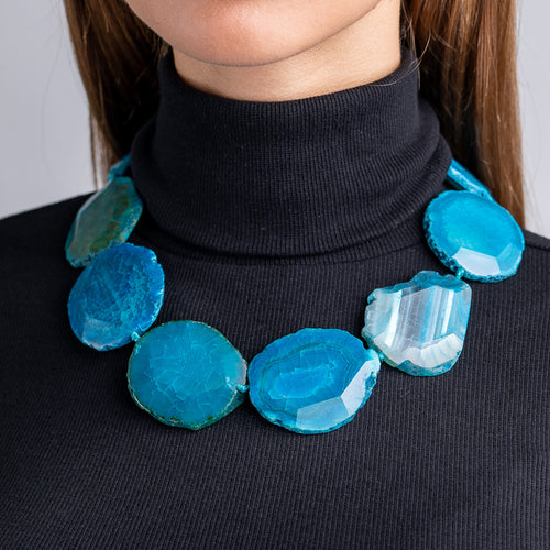 Blue Stone Station Necklace