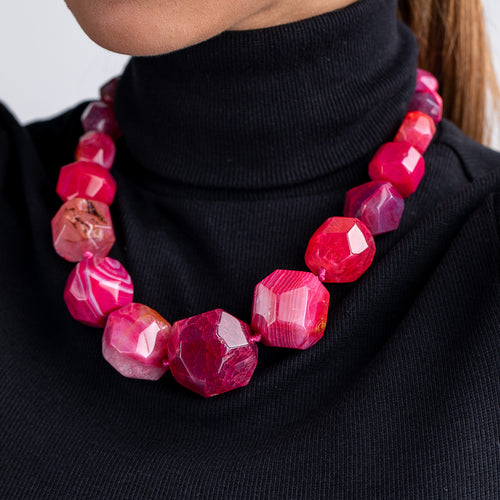 Ruby Faceted Agate Necklace