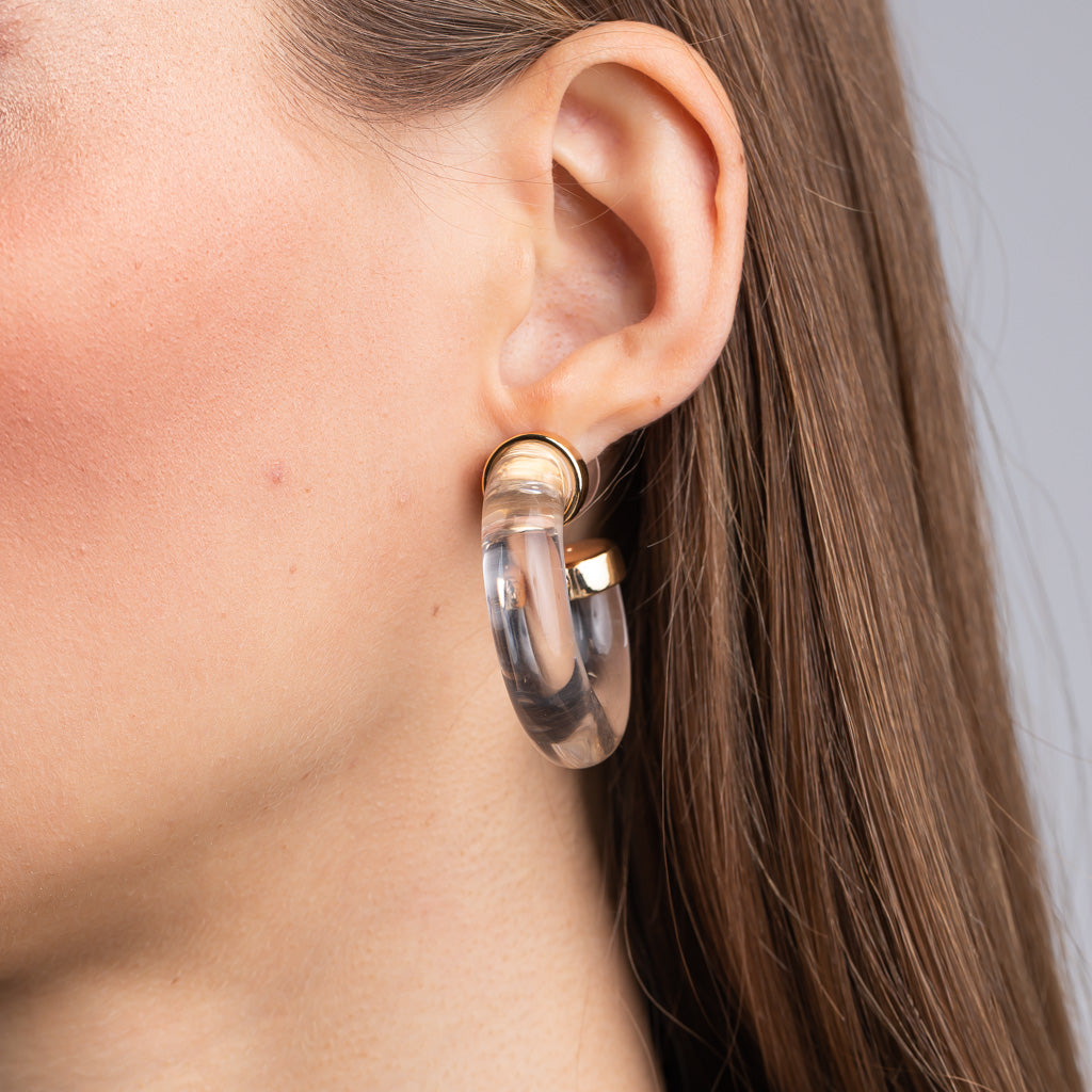 Clear with Polished Gold Ends Tube Hoop Pierced Earrings