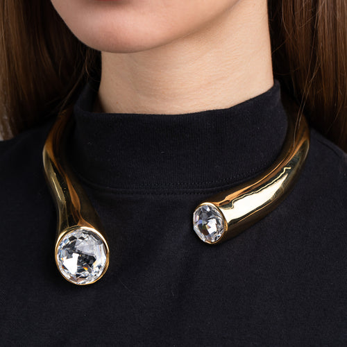 Polished Gold Collar Necklace with Faceted Crystal Ends