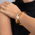 Satin Gold Wavy Contoured Bangle