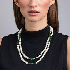 Pearl, Emerald and Ruby Necklace