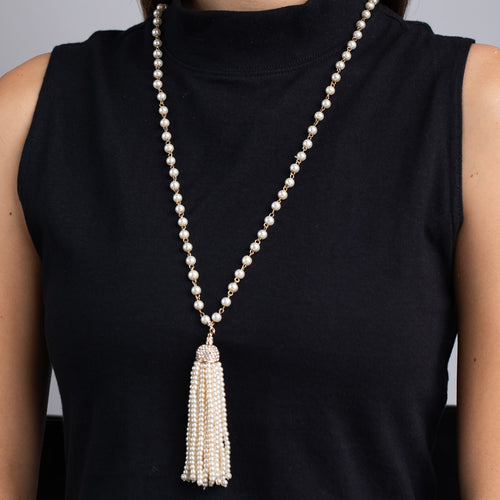 Pearl, Gold and Crystal Tassel Necklace
