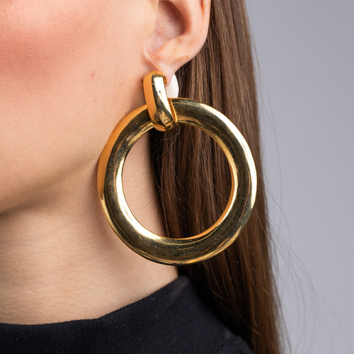 Polished Gold Doorknocker Hoop Clip Earrings