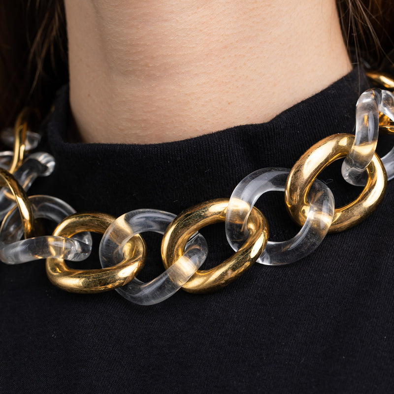 Polished Gold with Resin Clear Links Necklace