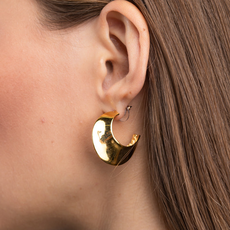 Polished Gold Tapered Hoop Pierced Earrings