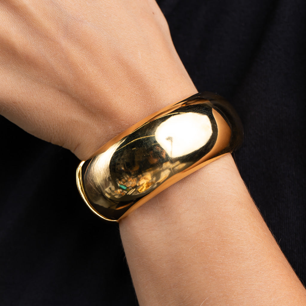 Polished Gold Domed Metal Bracelet