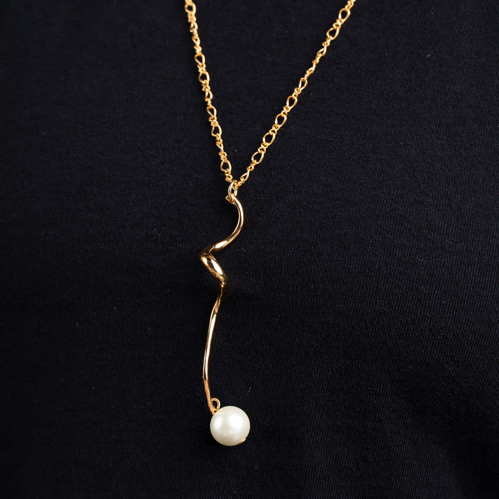Polished Gold Swirl with Pearl Drop Pendant Necklace