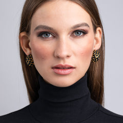 Vogue Paris/August 2019 - Gold and Black Cabochon Domed Hoop Clip Earrings