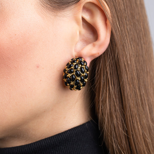 Gold and Black Cabochon Domed Hoop Clip Earrings