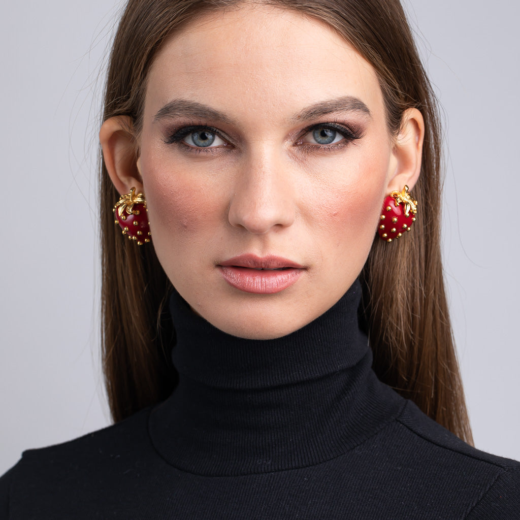 Spur Magazine/April 2019 - Polished Gold Strawberry Clip Earrings