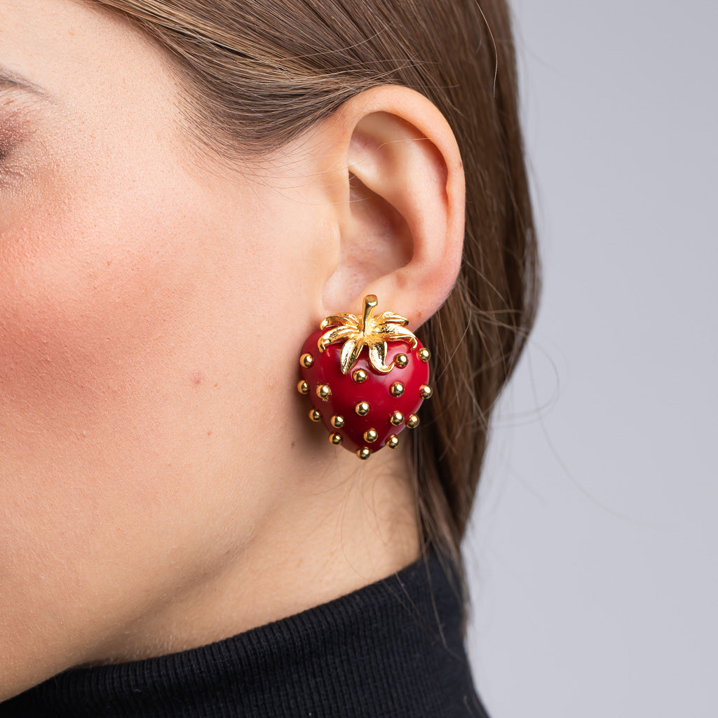 Polished Gold Strawberry Clip Earrings