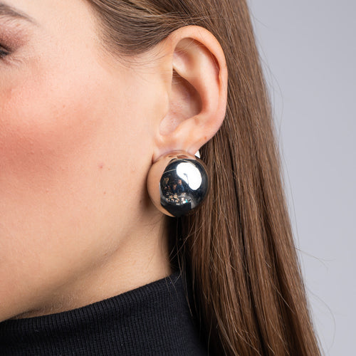 Polished Silver Button Clip Earrings