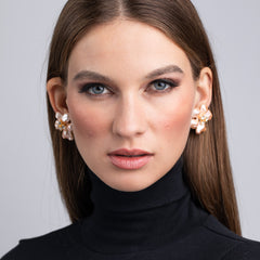 Vogue Netherland/July 2019 - Gold, Crystal and Pink Pearl Flower Clip Earrings