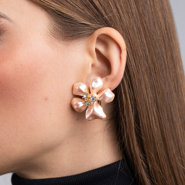 Gold, Crystal and Pink Pearl Flower Clip Earrings