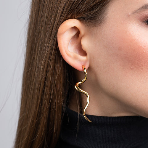 Harvey Nichols/September 2019 - Polished Gold Swirl Pierced Earrings