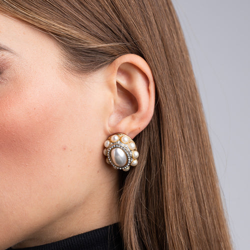 Gold and Cultura Pearl Clip Earrings