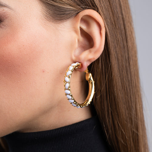 Gold and White Cabochon Hoop Clip Earrings