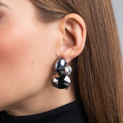 Rhodium and Crystal Hematite Stone Cluster Clip Earrings