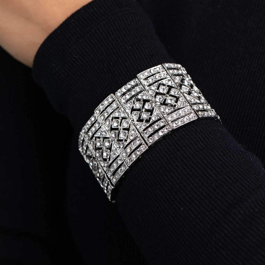 Silver and Crystal Art Deco Stretch Bracelet