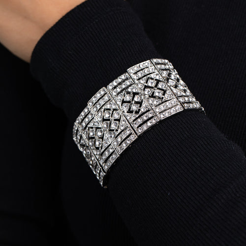 Elizabeth Hurley in Silver and Crystal Art Deco Stretch Bracelet