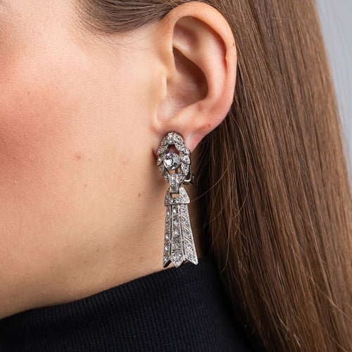 Rhodium, Rhinestone and Crystal Art Deco Drop Clip Earrings
