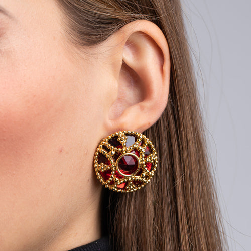 Antique Gold and Ruby Button Clip Earrings