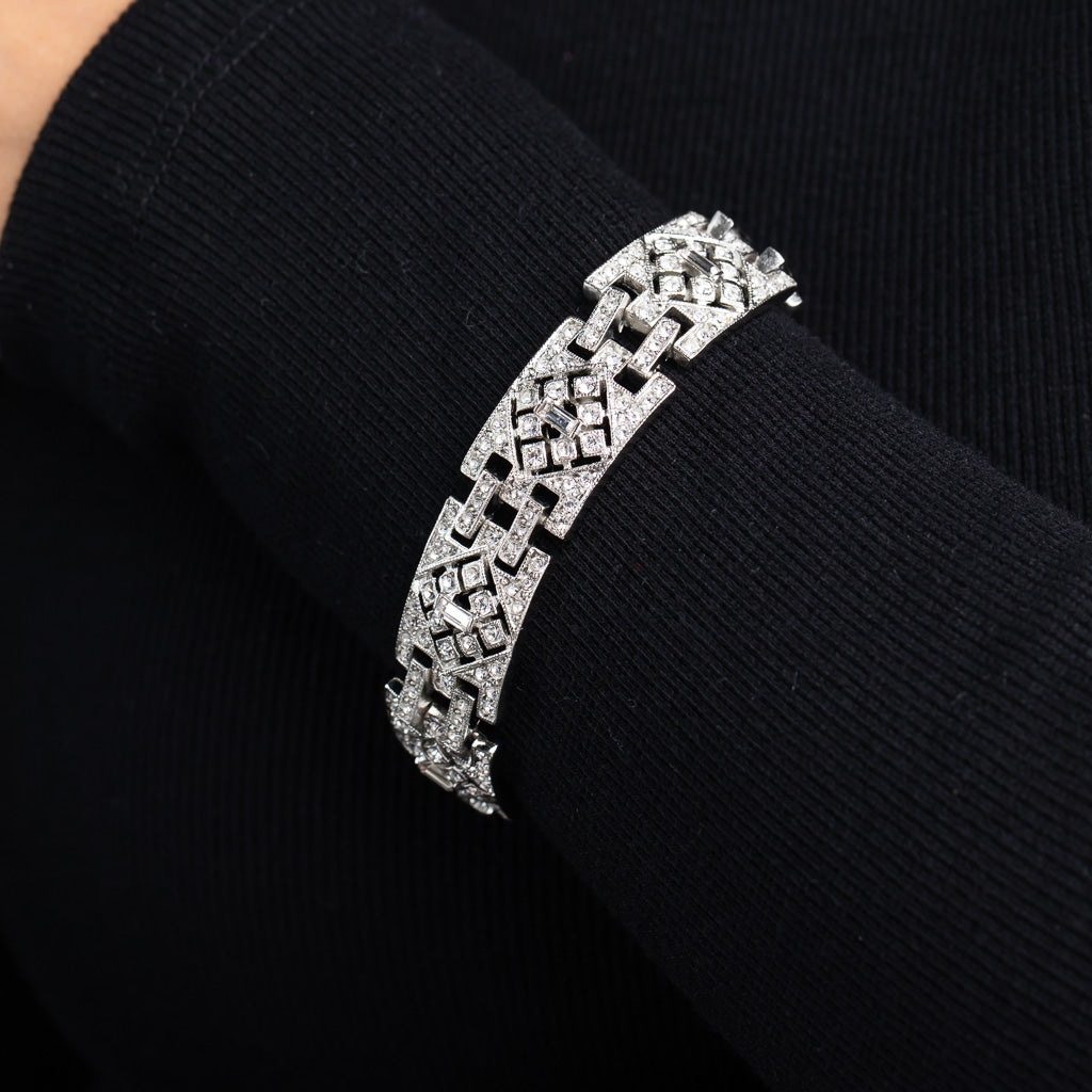 Silver and Crystal Deco Link Bracelet