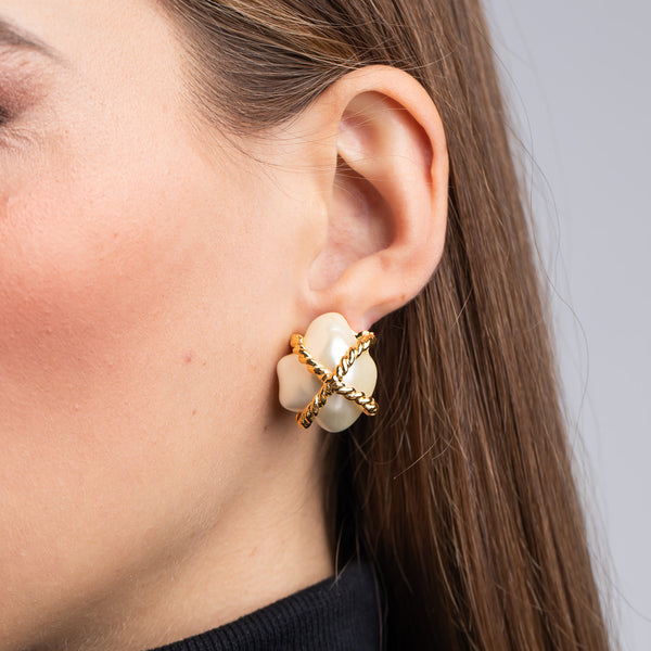"Cultura Pearl with Gold ""X"" Nugget Clip Earrings"