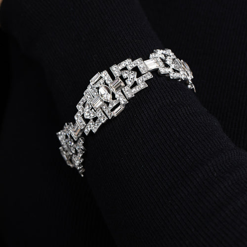 Silver and Crystal Art Deco Link Bracelet