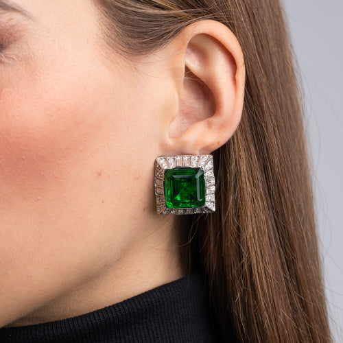 Emerald Square Clip Earrings